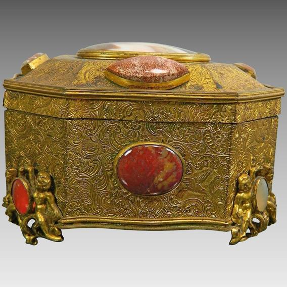 Antiguo Alhajero Metal Dorado Ormolu Semipreciosas Francés