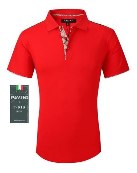 Playera Tipo Polo De Caballero Marca Pavini Roja P915 Original Importada Usa Envio Gratis Meses Sin Interes Y Garantia