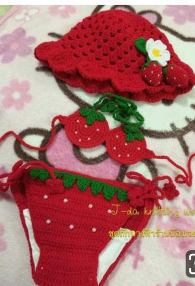 Biquini Infantil Croche Moranguinho