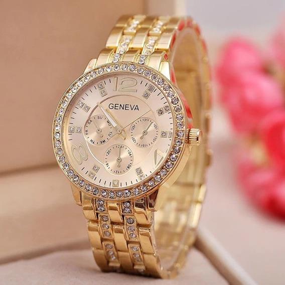 Relógio Tuhao Geneva Dourado Com Strass