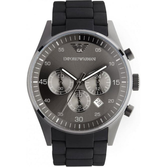 Relógio Empório Armani Ar5889 Orig Chron Anal Black Silicon