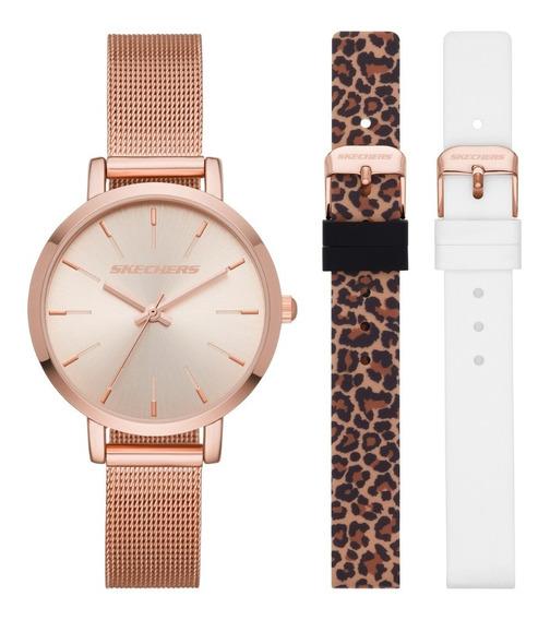 Set Reloj Dama Skechers Sr9029 Color Oro Rosado De Aleación