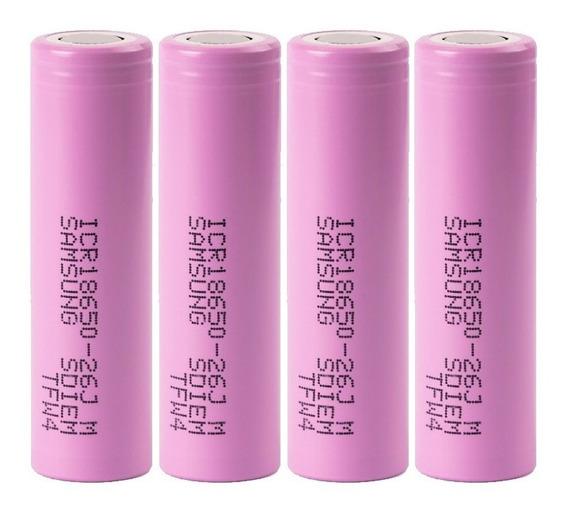 04 Baterias Samsung Original Li-ion 18650 3,7v 2600ma