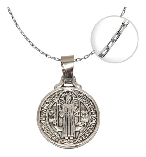 Imagen 1 de 3 de Colgante Medalla San Benito Cadena + Cajita / Todojoyas