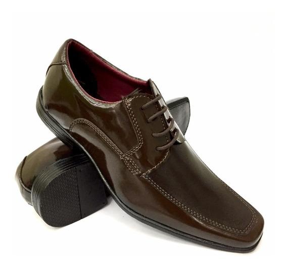 Sapato Masculino Verniz Cadarço Casamento Social Bico Fino