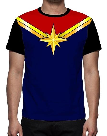 Camiseta Capitã Marvel Logo - Frente