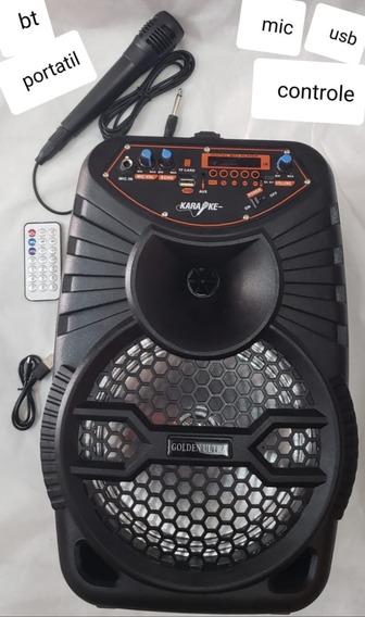 Caixa Som Bluetooth Amp Microfone Portátil Led Falante 8