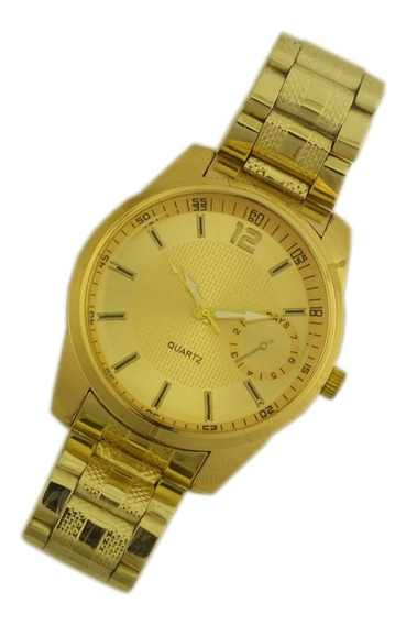 Relógio Pulso Masculino Dourado Analógico Imponente B5675