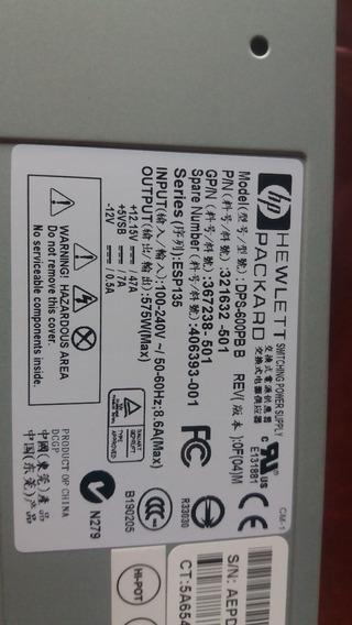 Fontes Hp Hewlett Packard Dps-600pb B P/n 321632-001 Nova
