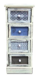 Mueble Vintage Con 4 Cajones En Tonos Azules - S0139