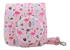 Bolsa Couro Sintético Alça Câmera Instax Mini 7 8 9 Flamingo