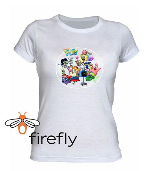 Remera Bob Esponja Mujer Blanco Coleccion 3 Firefly