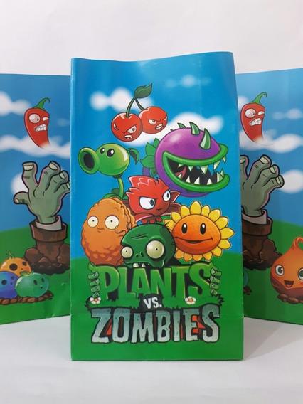10 Bolsas Papel Plants Zombies 21x12x6cm Fiestissima Liniers