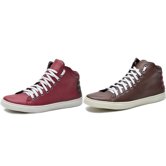 Kit 2 Pares Tênis Sapatênis Sneakers Galway Vermelho E Café 1330