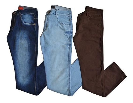 Kit 3 Calças Jeans Sarja Masculinas Várias Cores E Marcas