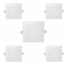 Kit 5 Painel Plafon Led Quadrado Embutir Slim 6w Branco Frio