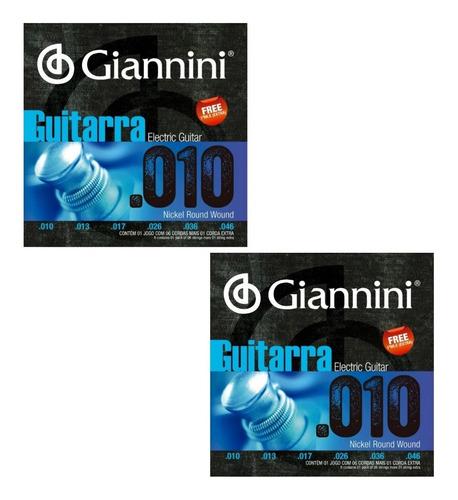 Encordoamento Para Guitarra 010 C/ Mi Extra Giannini C/2