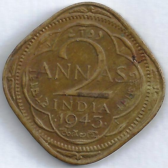 India 1943 2 Anna Colonial Inglaterra L24520