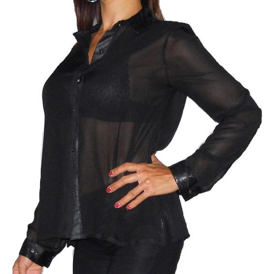 Camisa Gasa Lentejuelas En Cuello Y Puños Hermosa Elegante!!