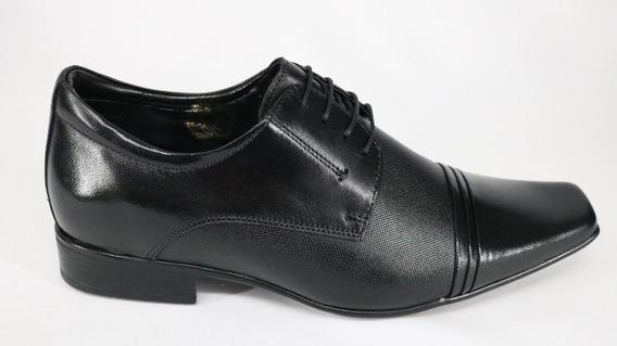 Sapato Jota Pe Couro Cadarço Aumenta Altura Preto