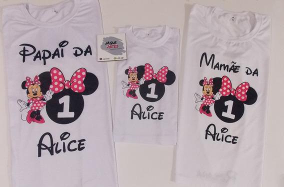 Camiseta Personalizada Minnie Kit Com 3 Camisetas