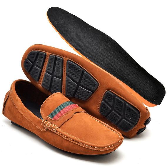 Sapato Masculino De Couro Mocassim Palmilha Gel Barato
