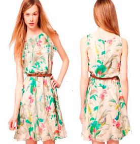 Promocao Vestidos Basicos Vestido Estampado Curto Verao
