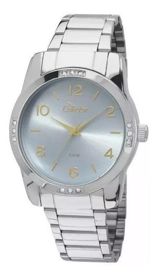Relógio Condor Feminino Prateado Visor Azul E Dourado