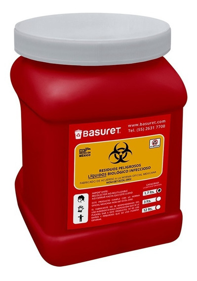 Recipiente Bote Contenedor Para Liquidos Rpbi Rojo 1.7 Lts
