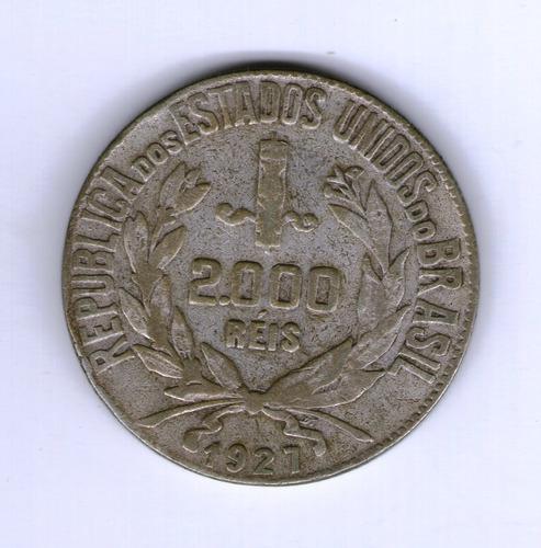 Brasil Moneda 2000 Reis 1927 Plata Km#526 - Argentvs