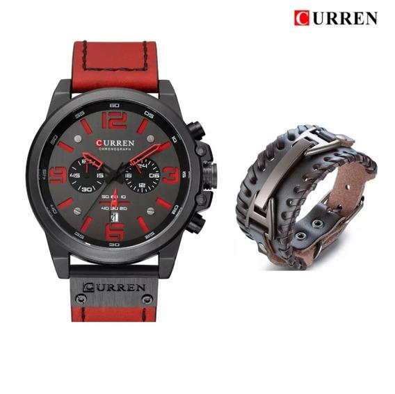 Relógio Masculino Curren 8314 Red Grátis Pulseira Couro Luxo