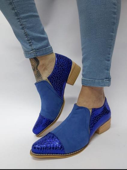 Zapato Azul Cuero Print Brilloso Nobuck 35 Último Nuevo Ofer