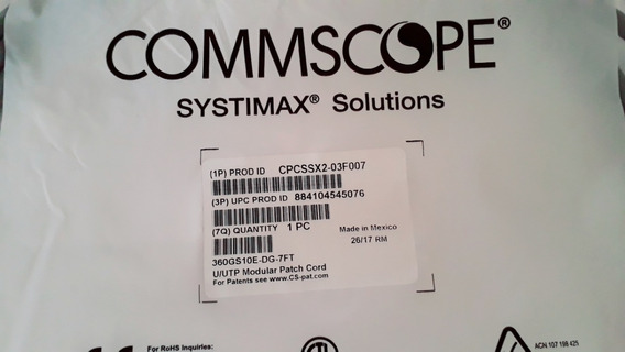 Patch Cord Systimax Cat 6a Commscope 2.10 Mt