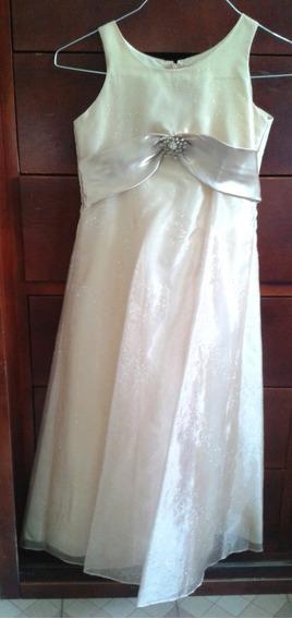 Vestido Formal Color Dorado De Niña Marca Good Girl Talla 10