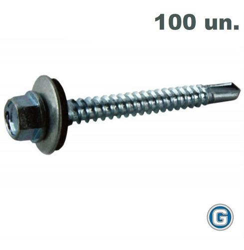 Tornillo Autoperforante Techo 14 X 2 1/2 Bolsa X 100 Un Gramabi Arandela Chapa Goma Vulcanizada Punta Mecha Metal Madera