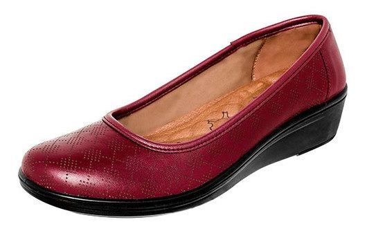 Zapato Piso Piel Flexi Dama Rojo Cerrado Cuña 4cm D64197 Udt