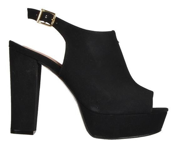 Calzado Dama Mujer Zapato Alto Abierto Ajustable Cómodo