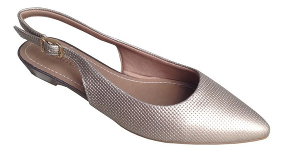 Sapato Scarpin Usaflex W7805 Couro Tresse Ouro Velho