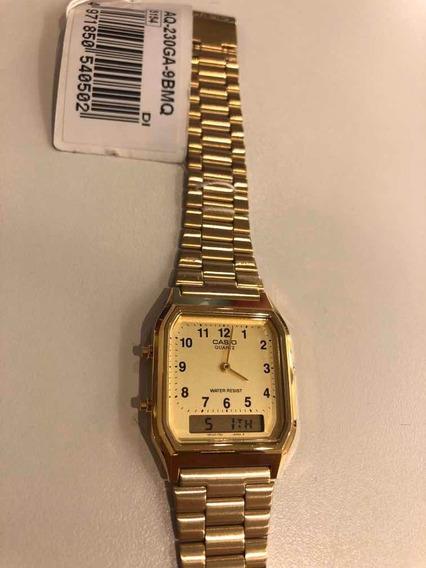 Relógio Retrô Casio Anadigi Dourado Aq-230ga-9bmq