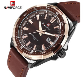 Relógio De Pulso Masculino Naviforce 9056 Couro - Original
