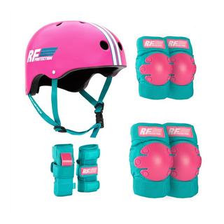 Set De Protección Y Casco Rollerface Rosa/azul