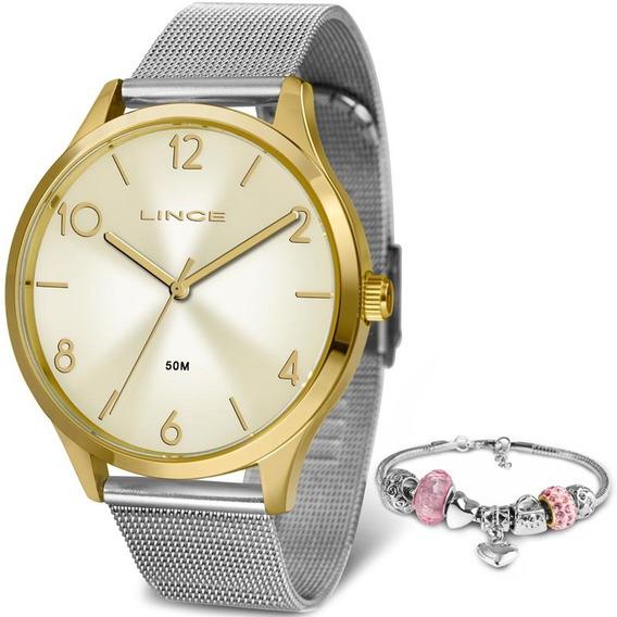 Relógio Feminino Lince Kit Semijoia Lrt4599l Kw31 Prata