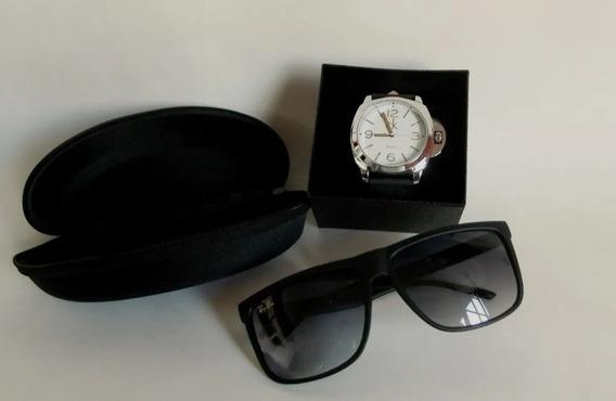Relógio Masculino C/ Fundo Branco + Óculos + Pulseira+colar