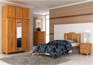 Juego Dormitorio 1 Plaza Combo Madera Maciza Color Miel Ebz