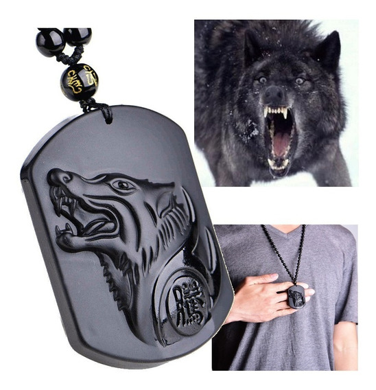 Colar Lobo Black Obsidiana Cristal Vulcânico Original Wolf