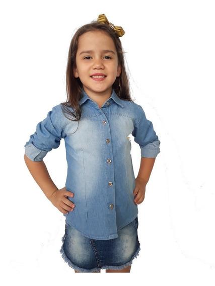 Camisete Jeans Infantil Menina Alfa Manga Longa Promoção