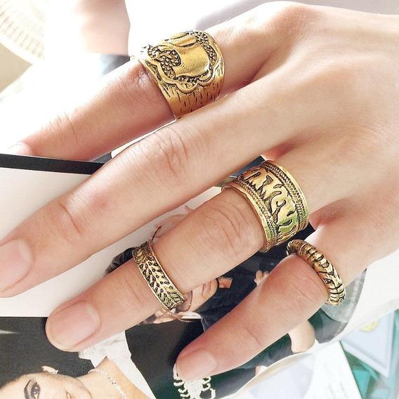 8 Anéis Prateados E Dourados - Elefante (frete Grátis)