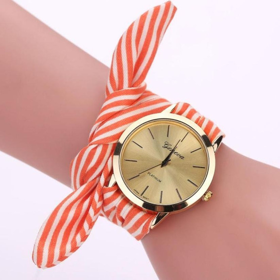 Relógio Feminino Dourado Bonito Barato Pulseira Geneva Mod