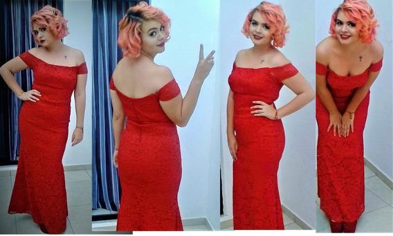 Vestido Rojo Encaje Largo Talla M
