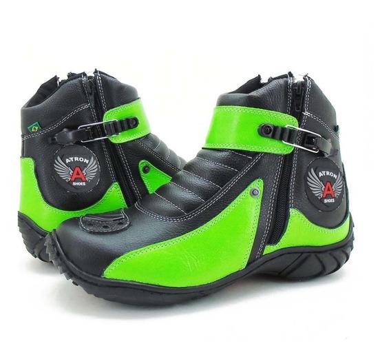 Coturno Motociclista Atron Shoes Couro 271 - Preto/verde *-*